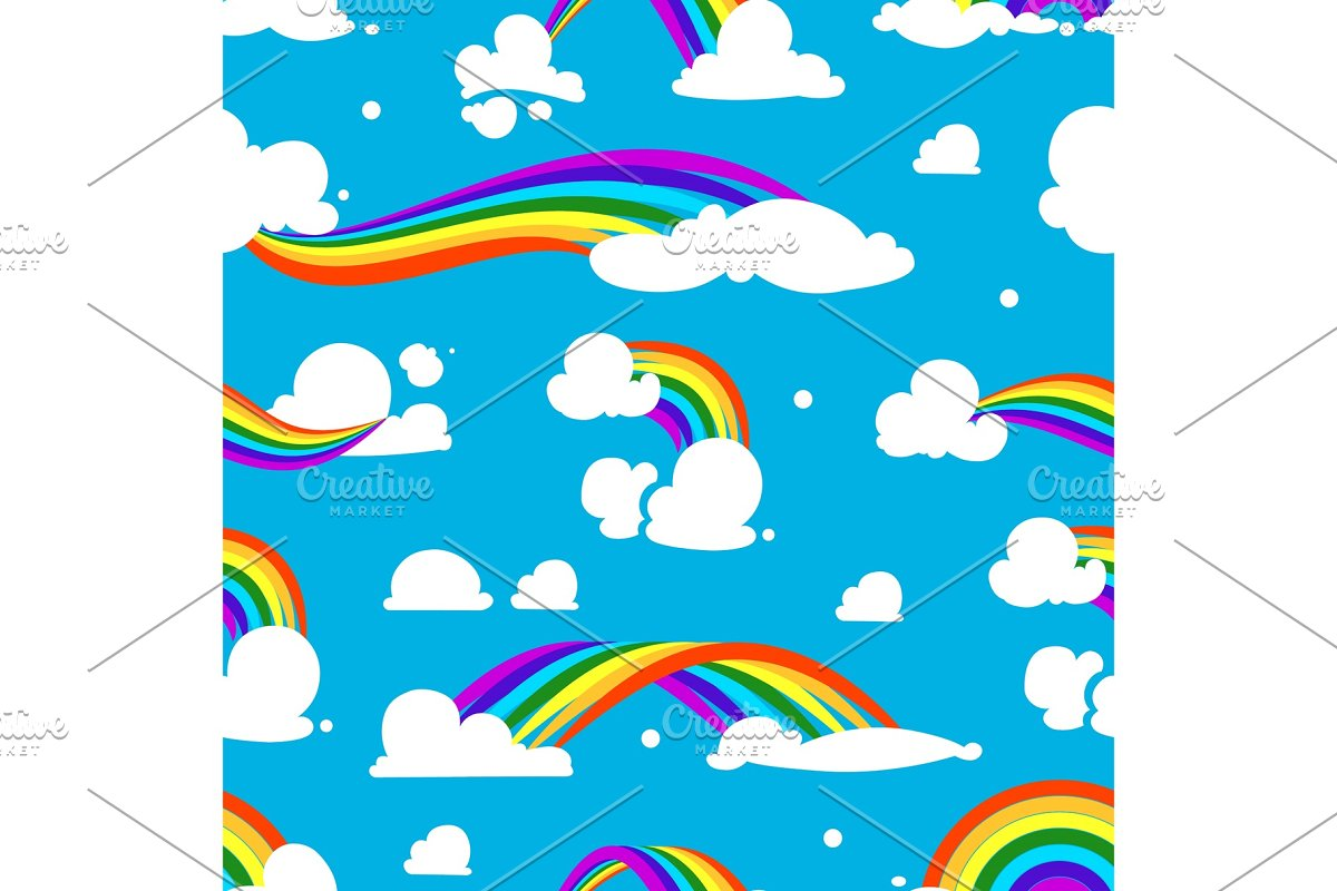 Seamless pattern with clouds and rainbow in Graphics - product preview 8