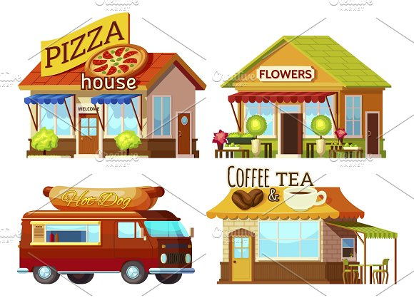 Cartoon Storefronts Set