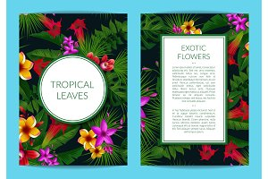 Vector tropical palm leaves and exotic flower elements business template for card or flyer with frames and place for text