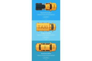 Vector order taxi app screens with different taxi cars top view for tablet template