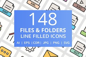 148 Files & Folder Filled Line Icons