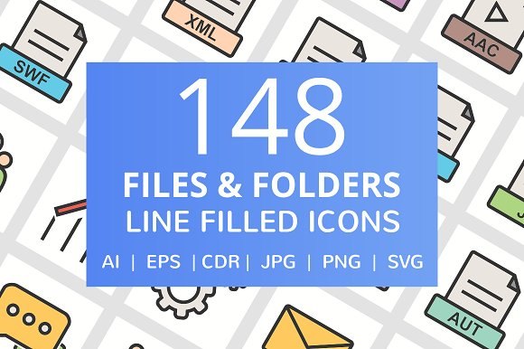148 Files & Folder Filled Line Icons