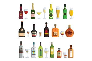 Illustrations of alcoholic bottles and glasses in cartoon style