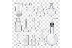 Equipment for chemical laboratory. Different vials and jars. Vector realistic illustrations