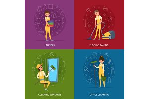 Concept pictures of cleaning service workers