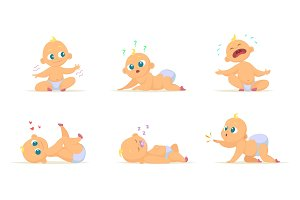 Funny characters set of babies in different poses. Vector characters isolate on white