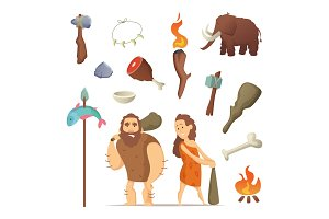 Different tools from prehistoric period. Primitive old weapons for caveman