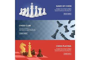 Horizontal banners set with illustrations of chess. Vector design template with place for your text