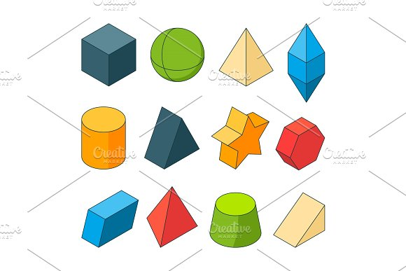 3D Model Of Geometry Shapes Colored Pictures Sets Pyramids Stars Cube And Others