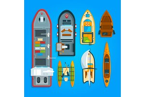 Different sea boats and ships. Vector illustrations top view