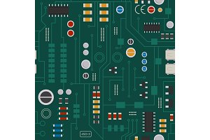 Seamless pattern of electronic circuit with diodes, chips and transistors