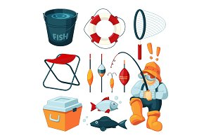 Different equipment for fishing. Fisherman with rod. Vector pictures set