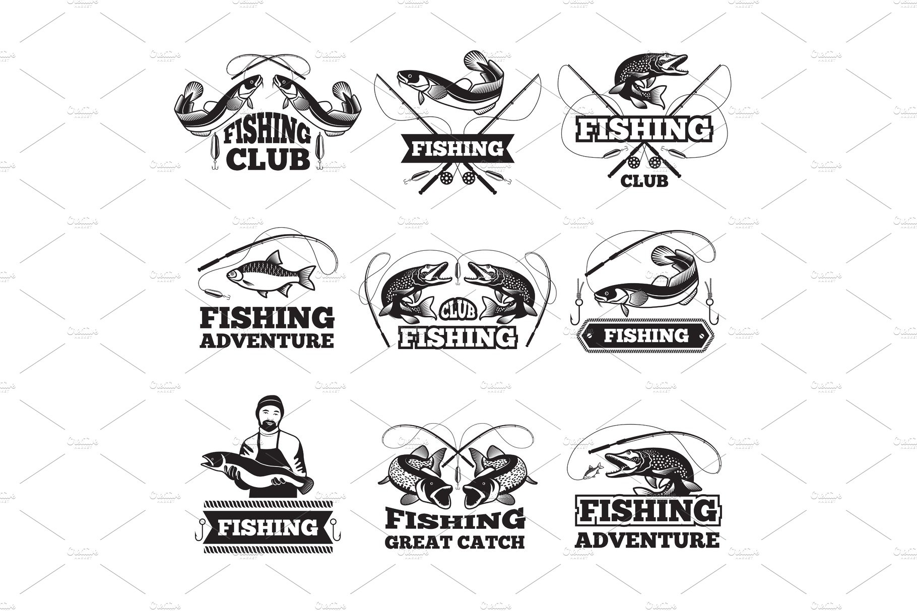 Fishing club badges or labels design template with place
