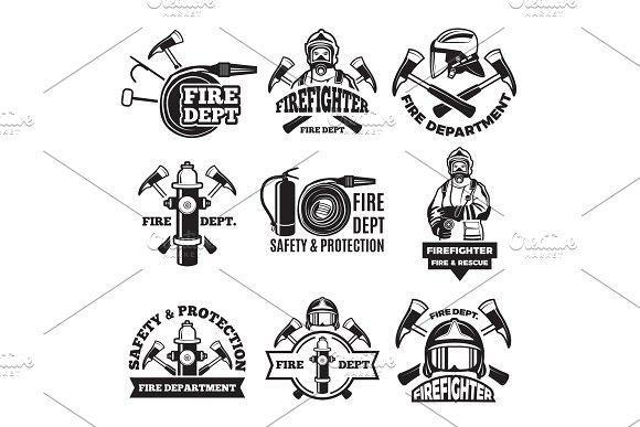 Monochrome Labels Set For Fire Department Pictures Of Fireman