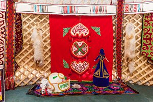 interior of a tent of a nomad or yurt