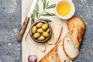 Ciabatta bread with olives oil