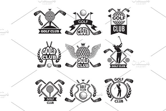 Monochrome Labels For Golf Club Illustration For Sport Tournament Or Competition