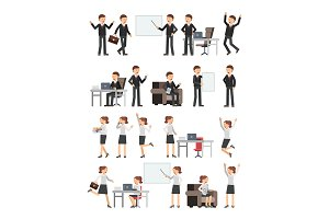 Different business peoples male and female in action poses. Woman at work. Illustrations of characters