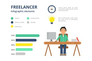 Infographic pictures for freelancers. Vector design template with place for your text