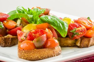 Red tomato bruschetta