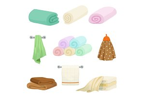Different colored towels for kitchen and bathroom. Vector pictures in cartoon style