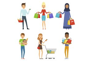 Happy people of different nations make shopping. Vector characters in flat style