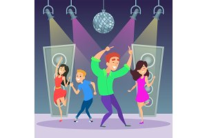 Funny people dancing on dance floor. Disco party