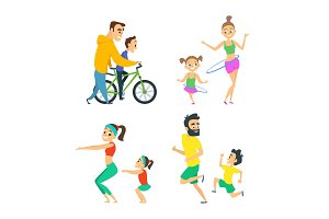 Set of family couples in fitness activities. Parents playing in active games with their children