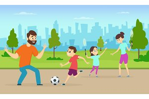 Illustrations of active parents playing sport games in urban park. Funny family couples in cartoon style