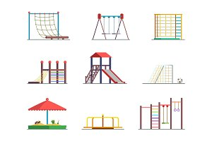 Equipment of amusement park. Playground isolated on white background