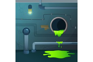 Old basement. Acid dripping from pipe. Game background