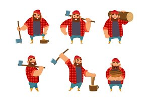Lumberjack in different poses holding axe in hands. Vector pictures isolate on white