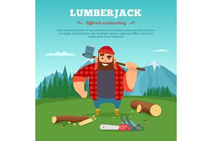 Poster with illustrations of wood machine and lumberjack