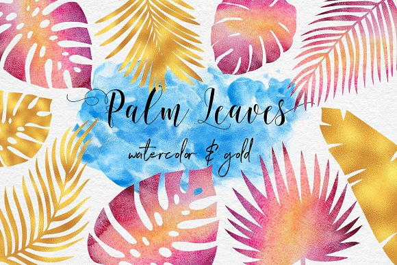 Watercolor And Gold Palm Leaves