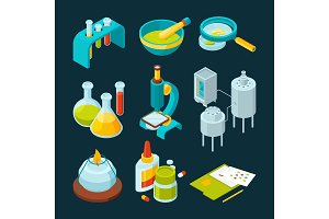 Pharmaceutical and chemical industry isometric illustrations