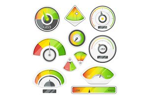 Different speed indicators. Vector pictures of speedometers and tachometers