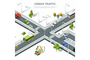 City crossroad. Illustrations of urban traffic with different cars. Vector isometric pictures