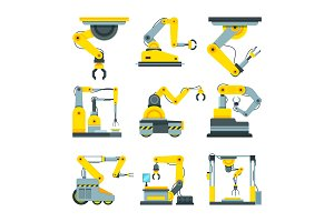 Industrial mechanical hands. Vector pictures in cartoon style