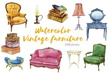 Watercolor vintage furniture set