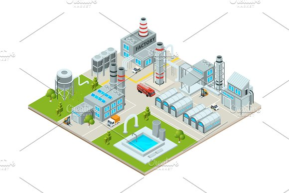 Outdoor Landscape With Factory Buildings Isometric Pictures