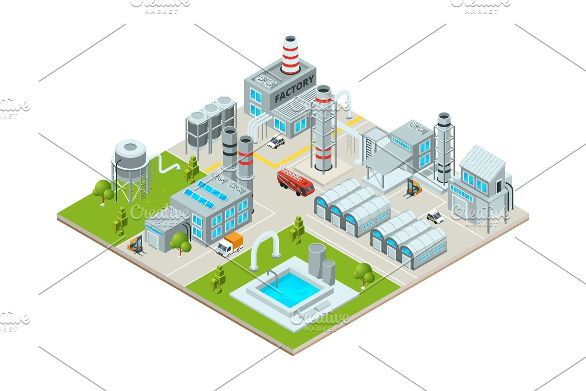 Outdoor landscape with factory buildings. Isometric pictures