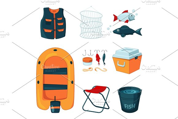 Different Tools For Fishing Vector Icons Set In Cartoon Style