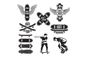 Illustrations of skating and labels for skateboarders. Vector monochrome pictures
