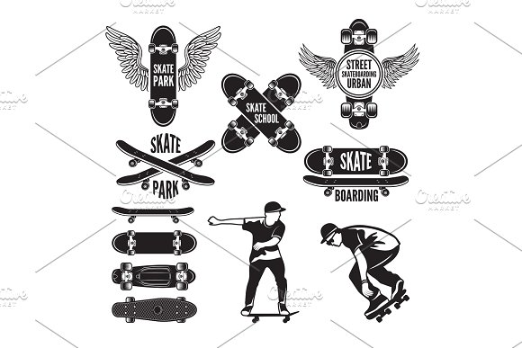 Illustrations Of Skating And Labels For Skateboarders Vector Monochrome Pictures