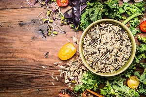 Wild rice with kale