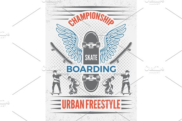 Poster in retro style for skateboarding championship. Vector design template with place for your text