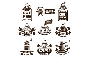 Monochrome coffee labels in retro style. Vector illustrations set with place for your text