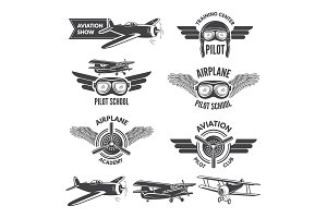 Labels set with illustrations of vintage airplanes. Travel pictures and logo for aviators