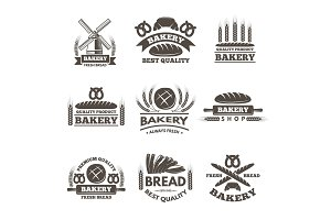 Vintage bakery labels set. Logo template in vector style