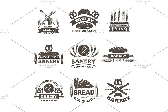 Vintage Bakery Labels Set Logo Template In Vector Style